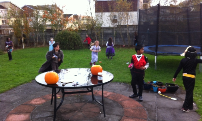 Halloween party in the garden
