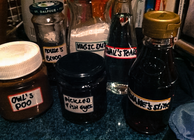 Ingredients for the magic potion: Owl's poo, Snake's slime, Mouse's blood, Pickled fish eyes, Snail's tears, Magic dust ...